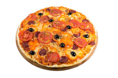 Tasty pizza. With vegetables, chicken and olives isolated on white.A popular pizza topping in American-style pizzerias royalty free stock photo
