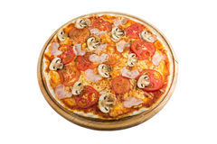 Tasty pizza. With vegetables, chicken and olives isolated on white.A popular pizza topping in American-style pizzerias stock photo