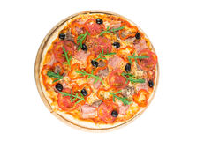 Tasty pizza. With vegetables, chicken and olives isolated on white.A popular pizza topping in American-style pizzerias stock photos