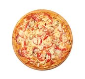 Tasty pizza with vegetables, Royalty Free Stock Photos