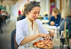 A tasty pizza stock photography