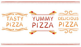 `Tasty pizza` `yummy pizza` and `delicious pizza` words with hand drawn elements. VECTOR vignettes. Red and orange lines Royalty Free Stock Images