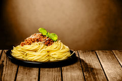 Tasty plate of spaghetti Bolognaise Royalty Free Stock Image
