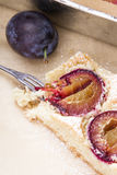 Tasty plum cake with fresh fruits Stock Photography