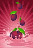Tasty plum in yoghurt. On an abstract background Royalty Free Stock Photo