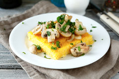 Tasty Polenta With Mushrooms Royalty Free Stock Images