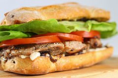 Tasty pork steak sandwich in a ciabatta with tomatos, lettuce Royalty Free Stock Photos