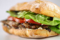 Tasty pork steak sandwich in a ciabatta with tomatos, lettuce Royalty Free Stock Image