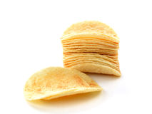 Tasty potato chips isolated on white background. Potato chips isolated on white background stock photography