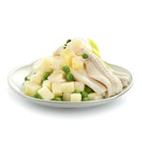 Tasty potato fish salad with green pea and onions Royalty Free Stock Photo