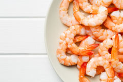 Tasty prawns on plate Royalty Free Stock Photography
