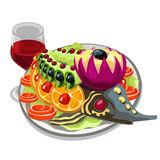 Tasty prepared fish with vegetables and red wine. Vector food on white background. Illustration Royalty Free Stock Photo