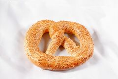 Tasty pretzel. With sesame,close-up stock photo