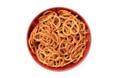 Tasty Pretzels in a Red Bowl Stock Images
