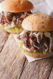 Tasty Pulled pork sandwich with coleslaw and sauce closeup. vert. Tasty Pulled pork sandwich with coleslaw and sauce close-up on the table. vertical stock image
