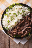 Tasty Pulled Pork and sauerkraut close up on a plate. vertical t Royalty Free Stock Image