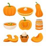 Tasty pumpkin dishes set, fresh ripe pumpkin and traditional Thanksgiving food vector Illustration on a white background. Tasty pumpkin dishes set, fresh ripe stock illustration
