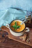 Tasty pumpkin soup. Seasonal autumn food royalty free stock images