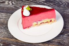Tasty rasberry mousse. With banana filling Stock Photo
