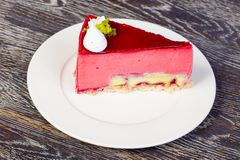 Tasty rasberry mousse. With banana filling Royalty Free Stock Photos