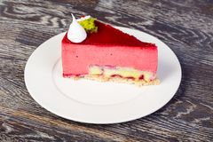 Tasty rasberry mousse. With banana filling royalty free stock photo