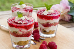 Tasty raspberry cheesecake in glass Stock Photography