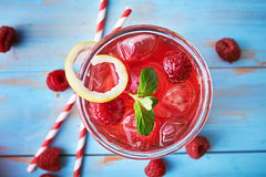 Tasty raspberry cocktail Stock Photos
