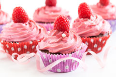 Tasty raspberry cupcakes Stock Image
