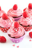 Tasty raspberry cupcakes Stock Photo