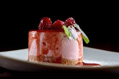 Tasty Raspberry Souffle With Mint Stock Photography