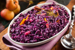 Tasty recipe for braised red cabbage and apple Royalty Free Stock Image