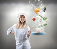 Tasty recipe of a chef. Tasty recipe of a young girl chef Royalty Free Stock Photo