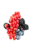 Tasty Red and Black Berry Fruits on White Stock Photo