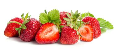 Tasty red strawberries with leaves Royalty Free Stock Images