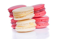 Tasty red and white macaroon close up stock photo