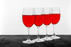 Tasty red wine in glasses on the table. Concept restaurant, alco. Hol, party Stock Image