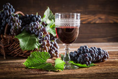 Tasty red wine with grapes in wicker basket Royalty Free Stock Image