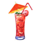 Tasty refreshing cold cocktail with strawberry, isolated, watercolor illustration. Red refreshing cold cocktail with strawberry in a glass with tube and umbrella Royalty Free Stock Images