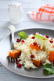 Tasty rice with pumpkin and mint Royalty Free Stock Photography
