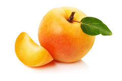 Tasty ripe apricots on the white background Royalty Free Stock Images