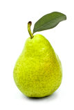 Tasty ripe green pear with leaf isolated on white Royalty Free Stock Photos