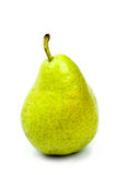 Tasty ripe green pear with leaf isolated on white Stock Images