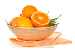 Tasty ripe oranges in bowl Stock Photography