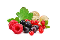 Tasty ripe raspberries and currants on a white background. An isolated object Stock Photo
