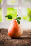 Tasty ripe red pear with leaves Stock Photography