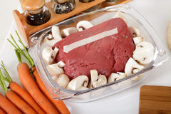 Tasty roast beef and mushroon in a glassware Stock Photo