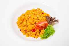 Tasty roasted corn with paprika. Royalty Free Stock Photography