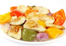 Tasty roasted fish, capsicum and onion Royalty Free Stock Images