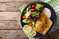 Tasty roasted fish fillet Arctic char and fresh vegetables close. Up on a plate. horizontal view from above stock photo