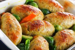Tasty Roasted In Oven Fish Cutlets Royalty Free Stock Photo